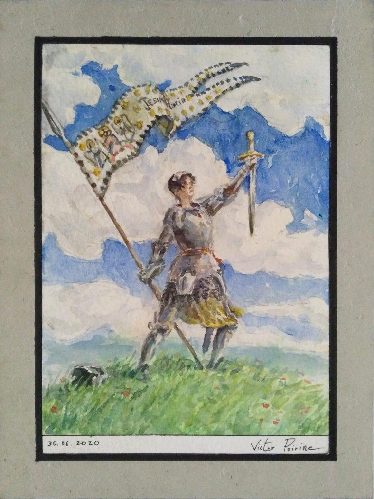 Jeanne d\'Arc sur la coline, aquarelle recherche couleur. vendu