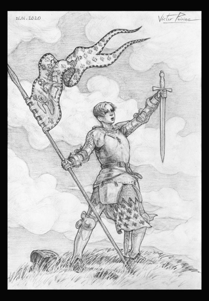 Non disponible car relié à un carnet. Jeanne d\'Arc sur la coline, dessin