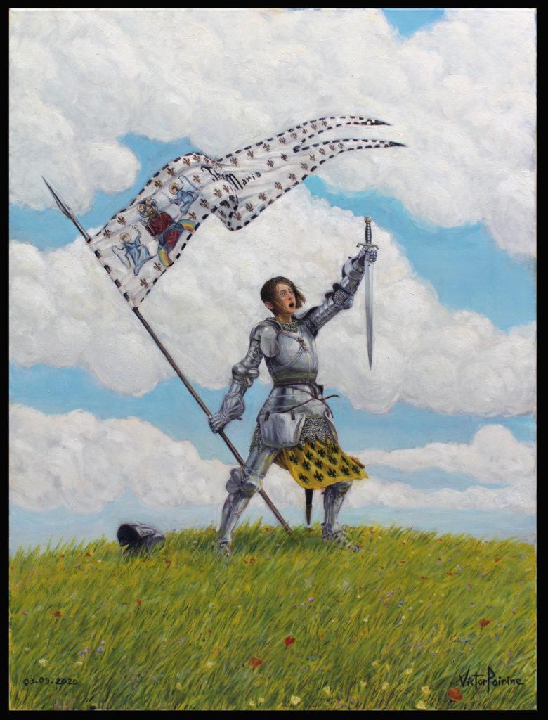 3000euros - Jeanne d\'Arc sur la coline, peinture à l\'huile.03.09.2020