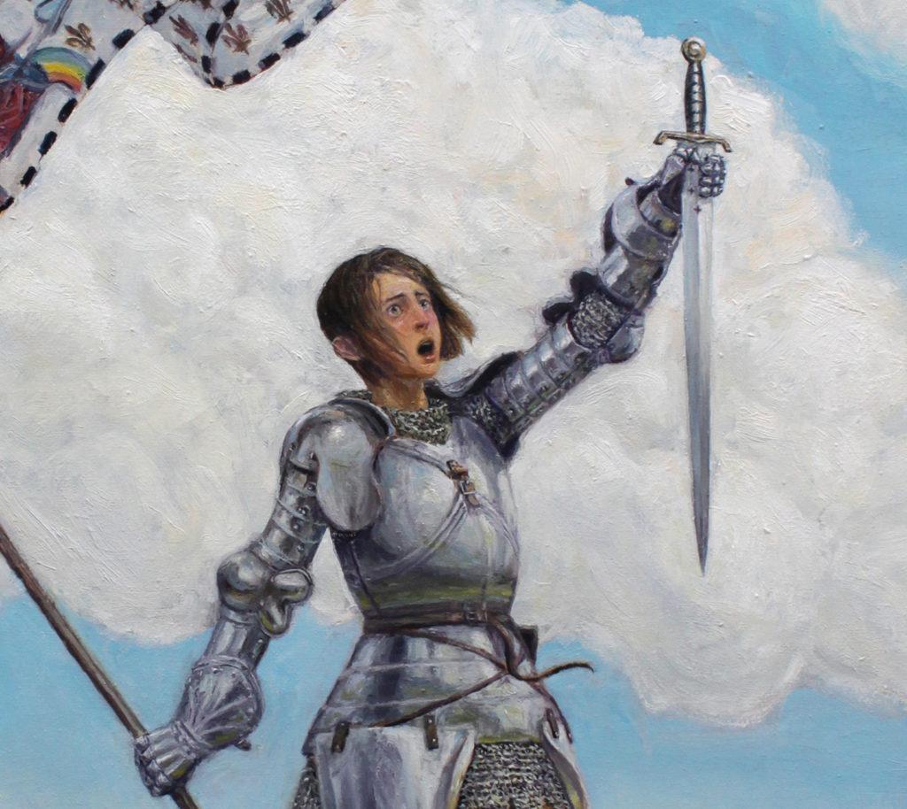 3000euros - Jeanne d'Arc sur la coline, peinture à l'huile. Agrandissement