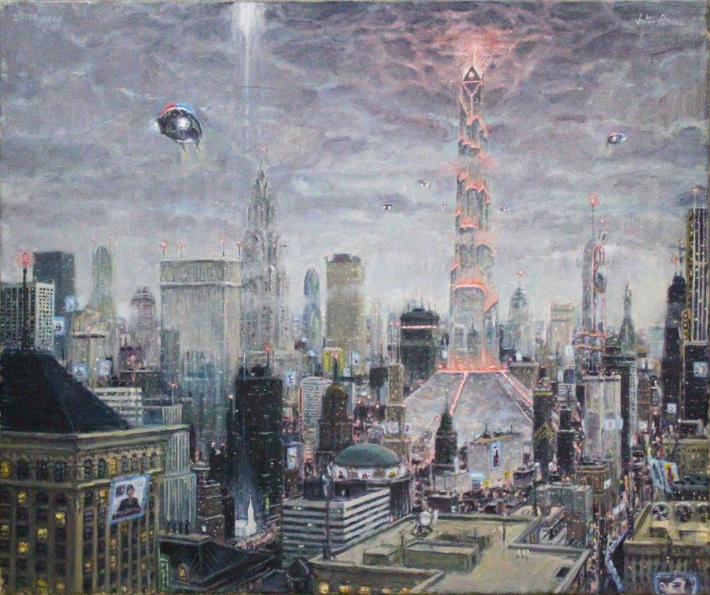 Le retour de Babel ou David contre le Goliath moderne - Huile sur toile - 23,5X19,5cm