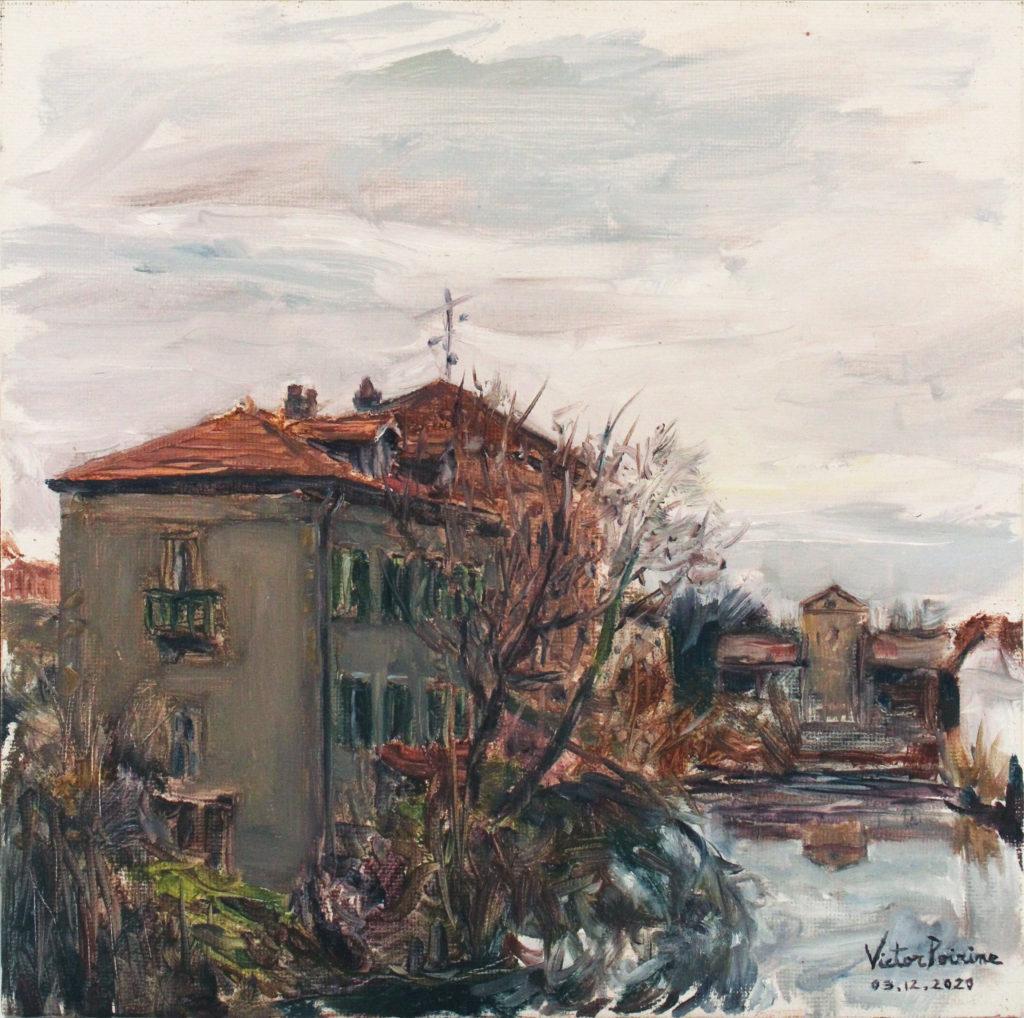 330euros - Maison en bord de canal à Saint-Nicolas de Port. Huile sur panneau entoilé de 25X25cm. 03.12.2020