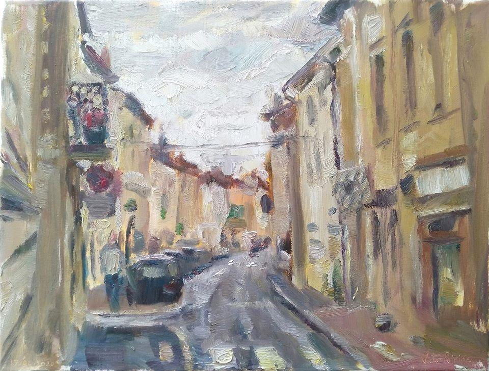 Rue Anatole France N1. Peinture à l\\\'huile sur toile de 24X30cm