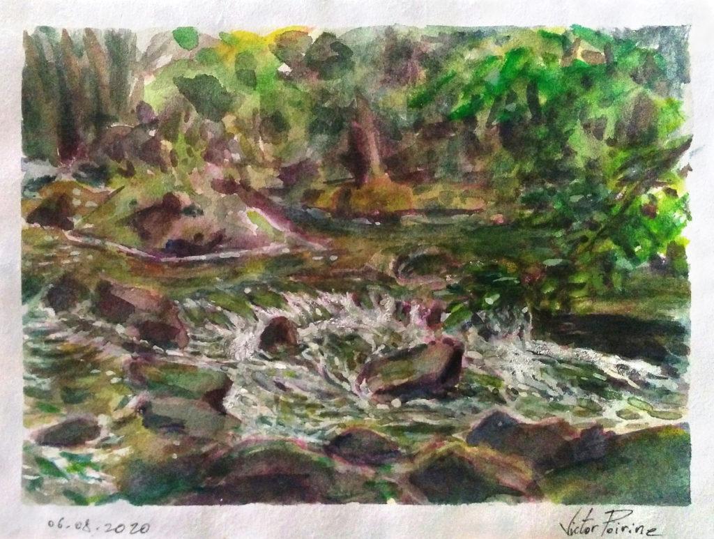 Petite rivière à Pontmain. Aquarelle et gouache de 15,5x11cm. Introuvable