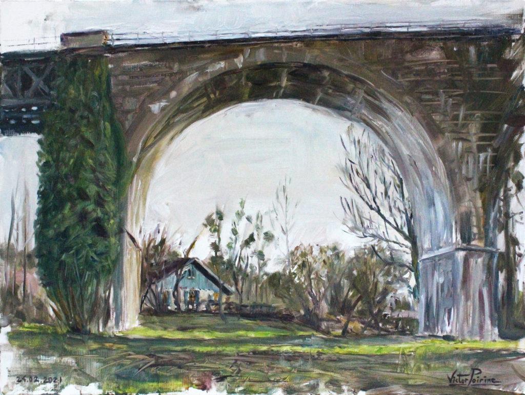 450euros - Pont du chemin de Fer à Saint-Nicolas-de-Port, huiles sur feuille de toile de 38X36cm.