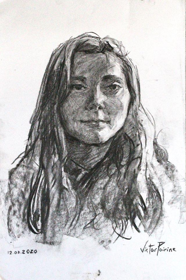 Portrait au fusain de Cécile. Non disponible