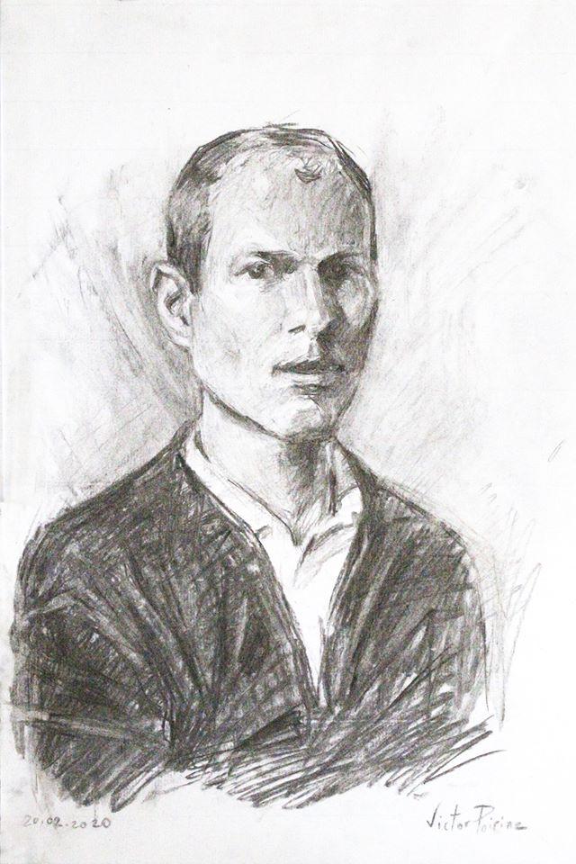 Portrait au fusain de mon ami Ludovic. Non disponible