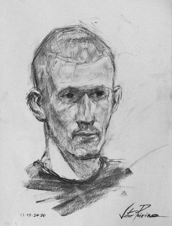 Portrait au fusain de mon voisin et ami Guillaume. Non disponible