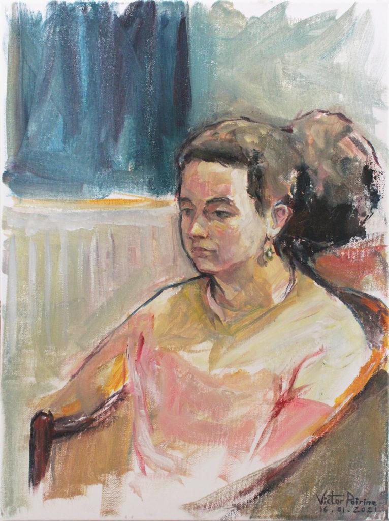 300euros - Portrait d\'Aylla, huile sur toile de 30x40cm, 16.01.2021