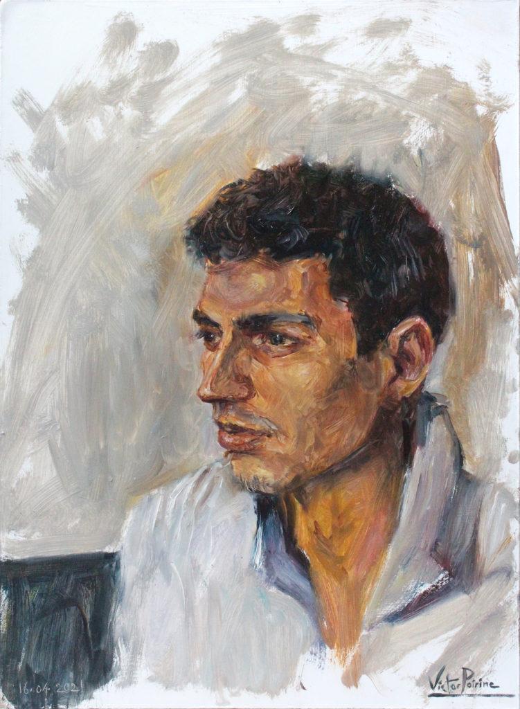 Non disponible - Portrait de Benoît. A3. huile sur panneau