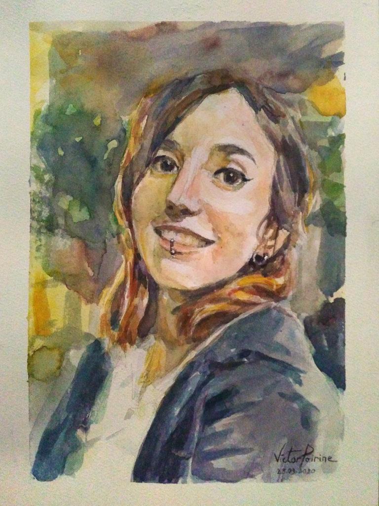 Portrait de Marina à l\'aquarelle sur papier. Format A4. Cadeau d\'anniversaire.