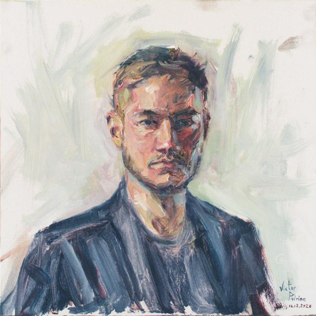 180euros - Portrait de Théo. Huile sur panneau entoilé de 25X25cm. 10.12.2020