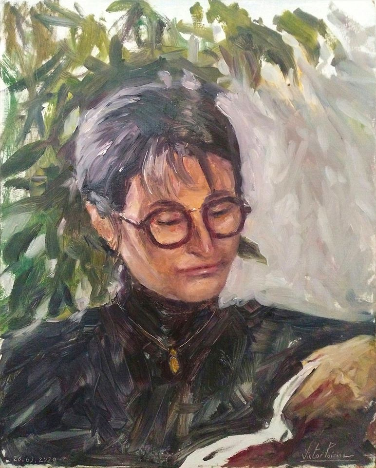 Portrait de ma maman en pleine lecture. Huile sur panneau de 24X30cm
