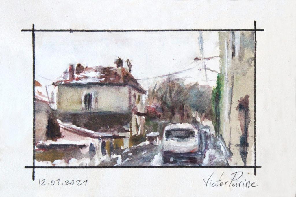 120euros - Rue Gambetta à Saint-nicolas-de-Port, aquarelle.