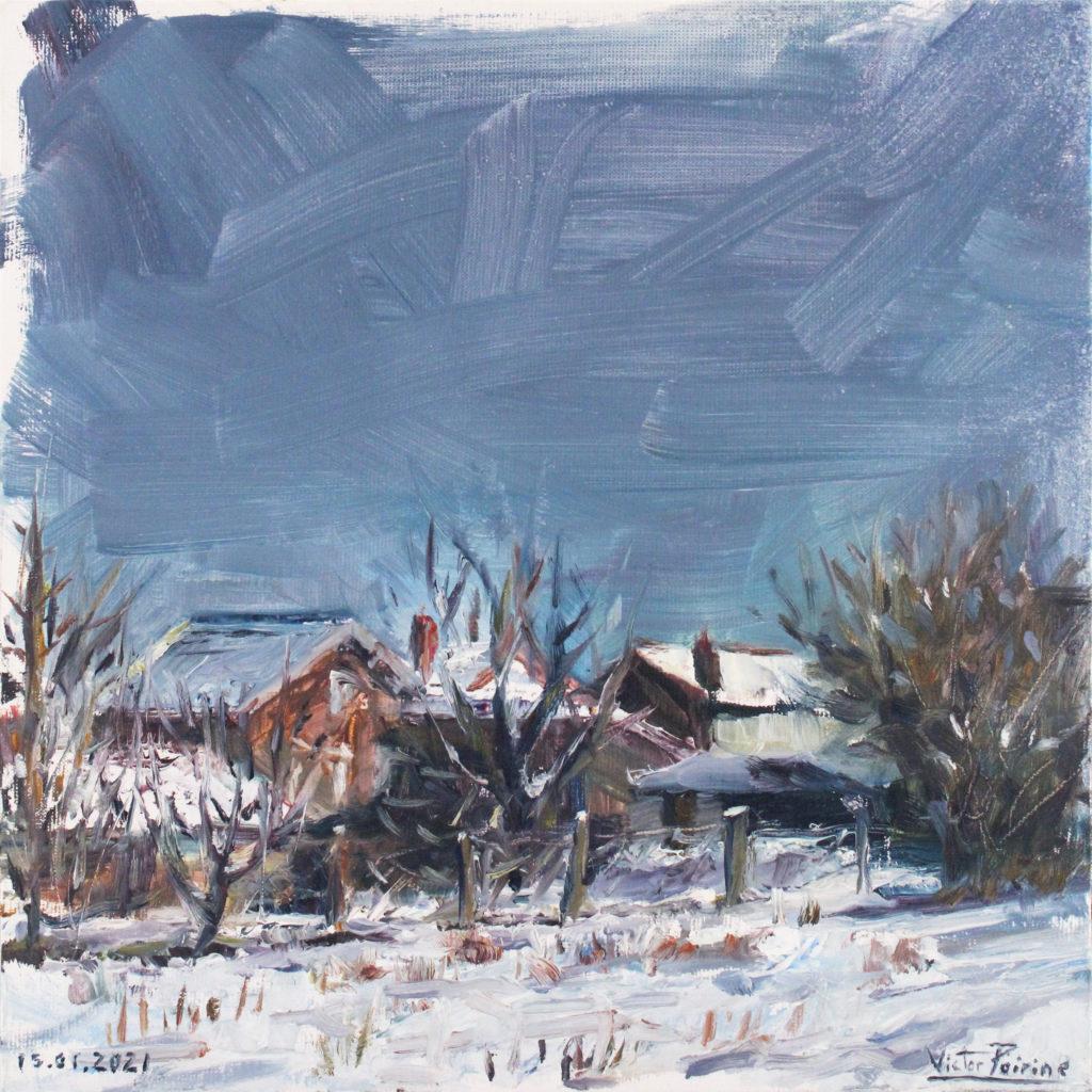 300euros - Rue de l\'abbé Chatrian, sous la neige, à Lunéville. panneau entoilé de 25X25cm. 15.01.2021