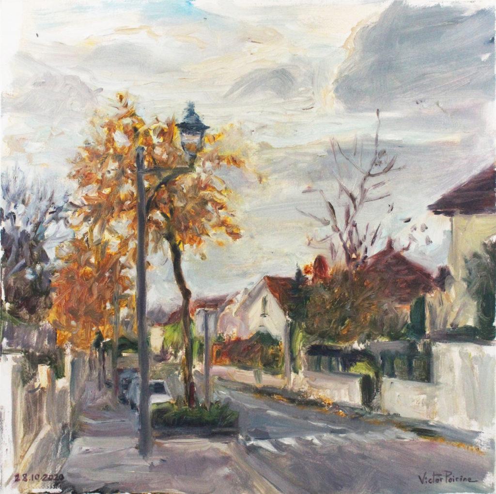 300euros - Rue du Blanc Mur à Saint-Nicolas-de-Port. Huile sur toile de 29x29cm. 28.10.2020