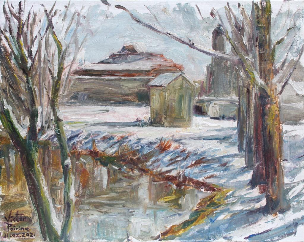 300euros - Sous la neige, direction l\'enclot des cygognes, Saint-Nicolas-de-Port. Huile sur panneau entoilé de 24x30cm