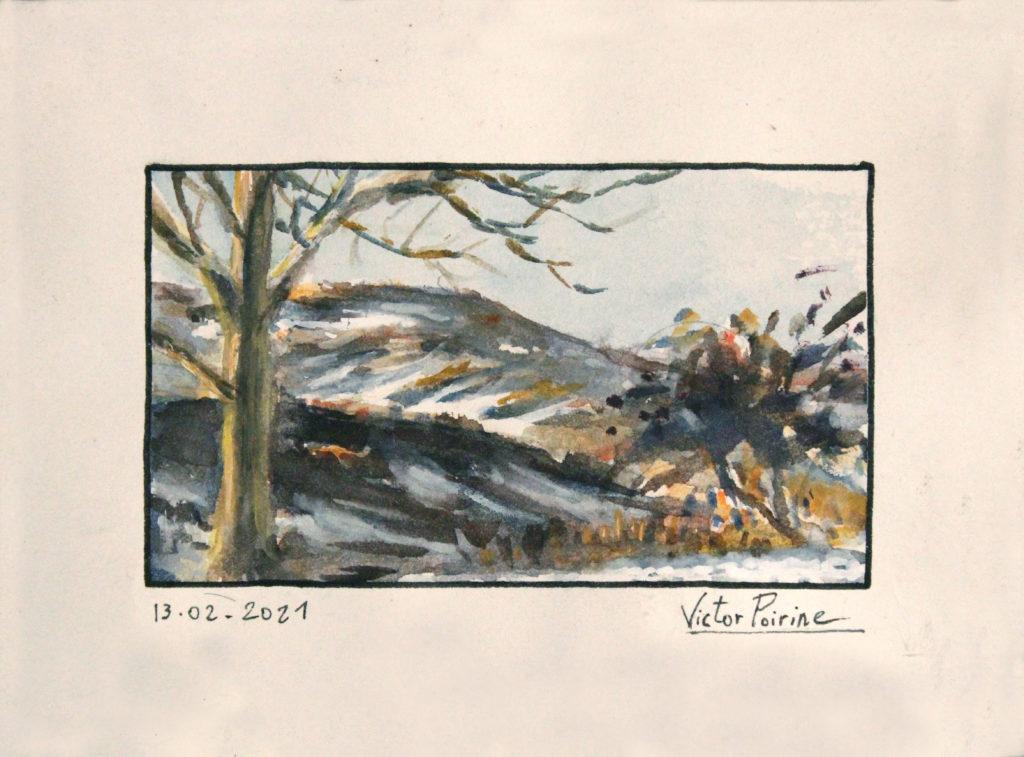 150euros - Vue des montagnes à Orbey. Aquarelle de15,5x11cm avec les marge.13.02.2021