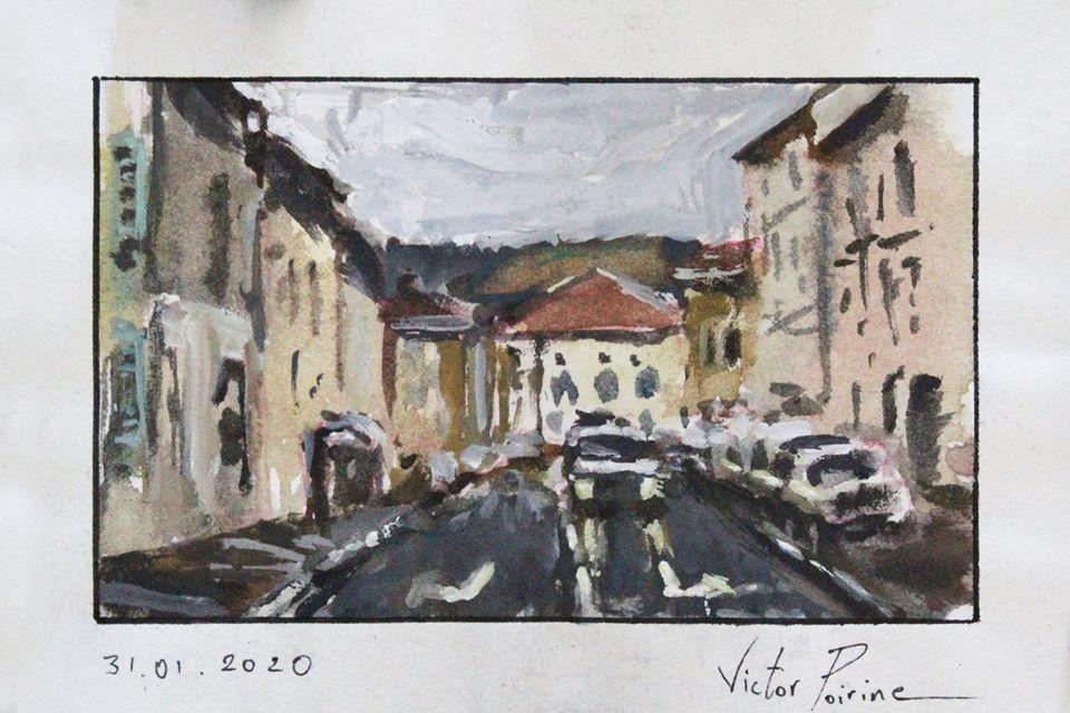 aquarelle et gouache sur papier de la rue Bonnardel à Saint-Nicolas-de-Port