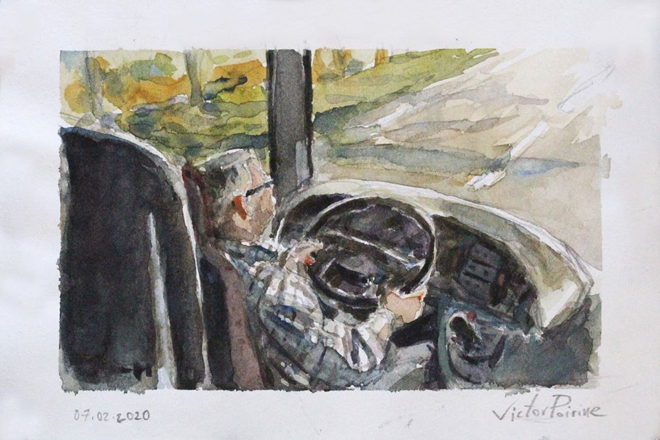 aquarelle sur papier du conducteur du bus lors du trajet pour visiter, avec des élèves des Compagnons du Devoir, la Maison de l'Outil et de la Pensée Ouvrière à Troyes