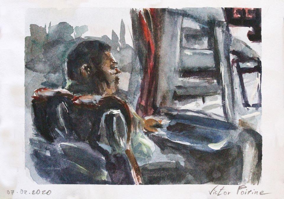 aquarelle sur papier d'un collègue dans le bus lors du trajet pour visiter, avec des élèves des Compagnons du Devoir, la Maison de l'Outil et de la Pensée Ouvrière à Troyes