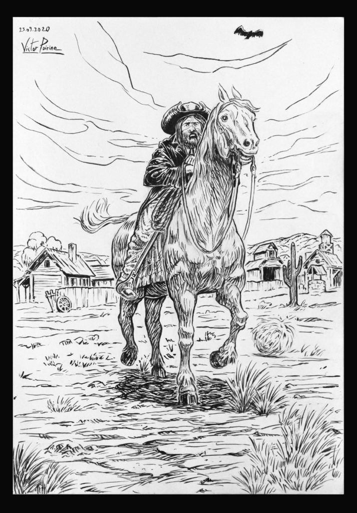 Non disponible car relié à un carnet. Cowboy à cheval. Encrage