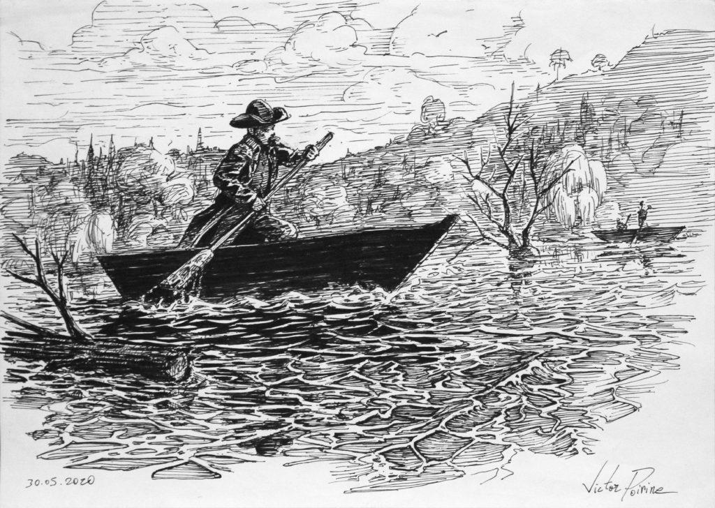 350euros - cowboy en barque remontant un fleuve. A4