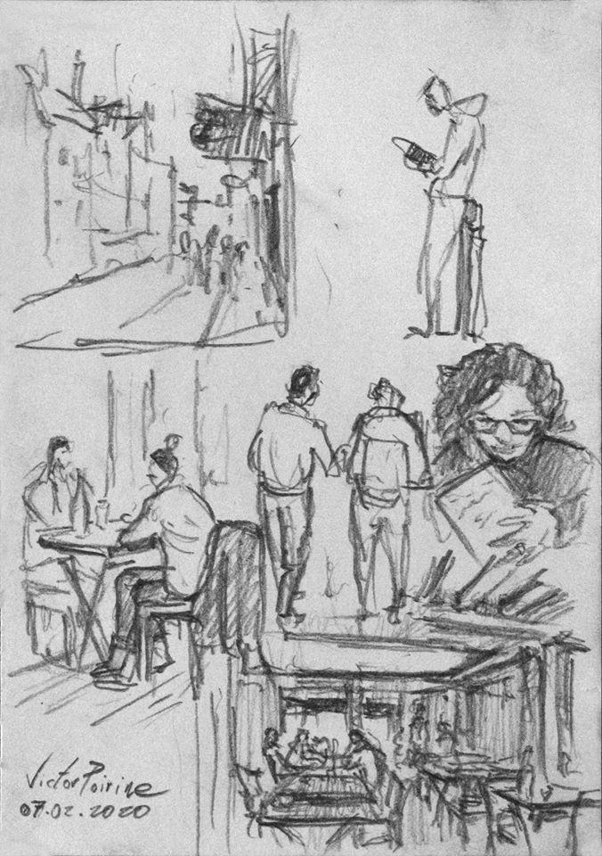 croquis au crayon dans la ville de Troyes lors d'une visite avec des élèves des Compagnons du Devoir à la Maison de l'Outil et de la Pensée Ouvrière