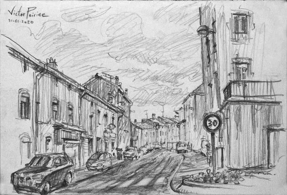 croquis au crayon de la Rue des martyrs du nazisme à Saint-Nicolas-de-Port
