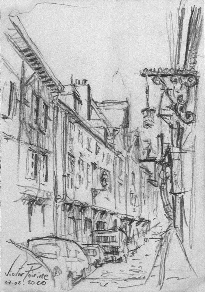 croquis au crayon d'une rue dans la ville de Troyes lors d'une visite avec des élèves des Compagnons du Devoir à la Maison de l'Outil et de la Pensée Ouvrière