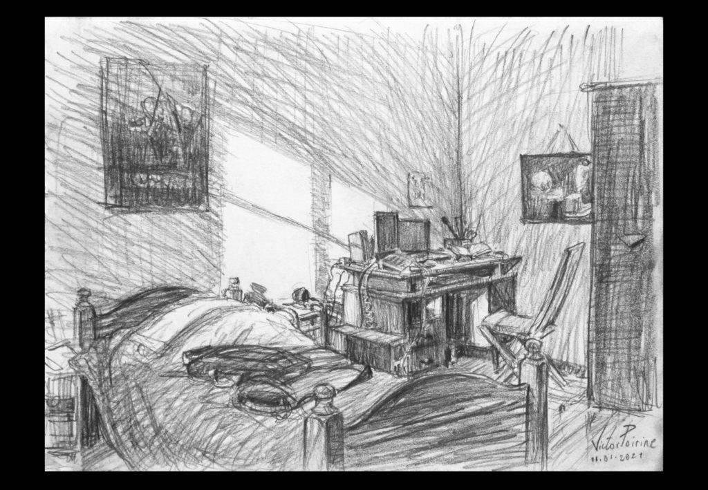 180euros - croquis d\\\'une chambre chez ma mère à Lunéville. A4