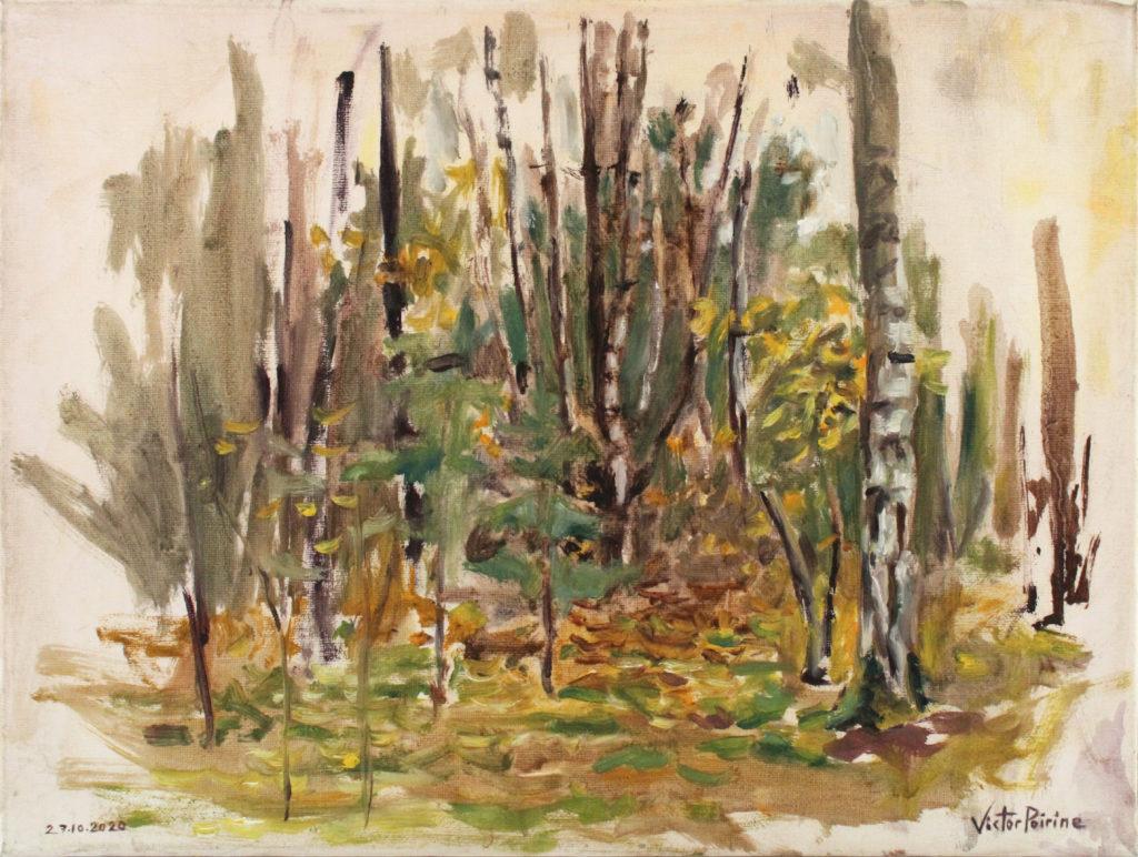 250euros - forêt du parcours de santé de Varangéville, en automne. Huile sur toile de 24x30cm, 27.10.2020