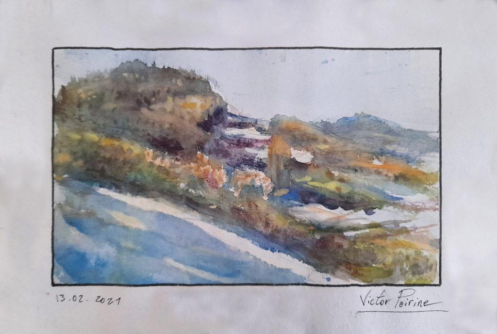 120euros - les montagnes chez les soeurs dominicaines d\'Orbey. Aquarelle sur papier. Offert. 13.02.2021