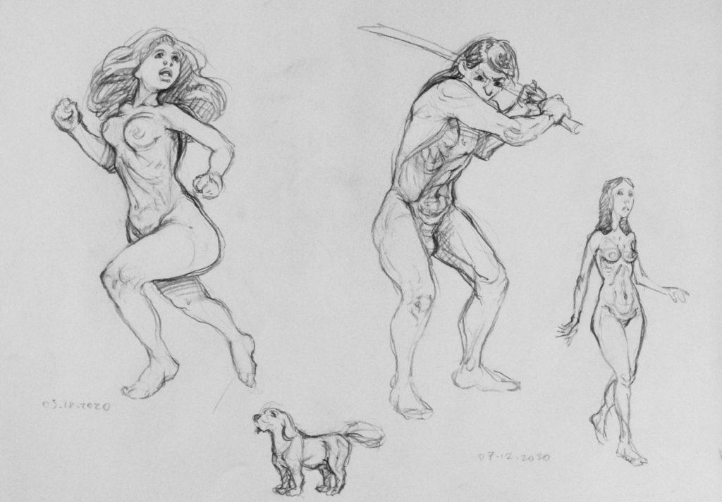 150 euros - études anatomiques et d\'expression de pose. A3. 12.2020
